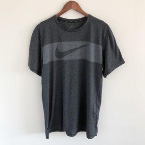 Nike Dri-Fit Breathe Swoosh Training Top L Gray